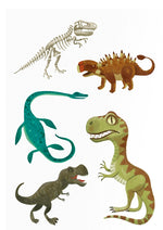 on a white background, five different illustrated dinosaurs