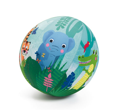 A colourful ball with an illustrated elephant, a crocodile and a tiger on a white background