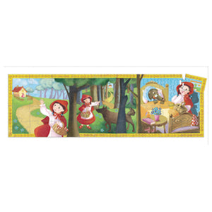 A picture of the actual puzzle on a white background depicting the illustated story of little red riding hood.