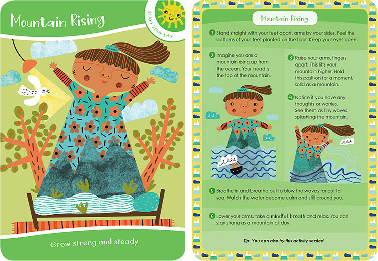 Two illustrated green cards of the front and back of the mountain rising mindfulness exercise. The first card introduces the activity, the back shows steps 1 through 6 on how to achieve the activity