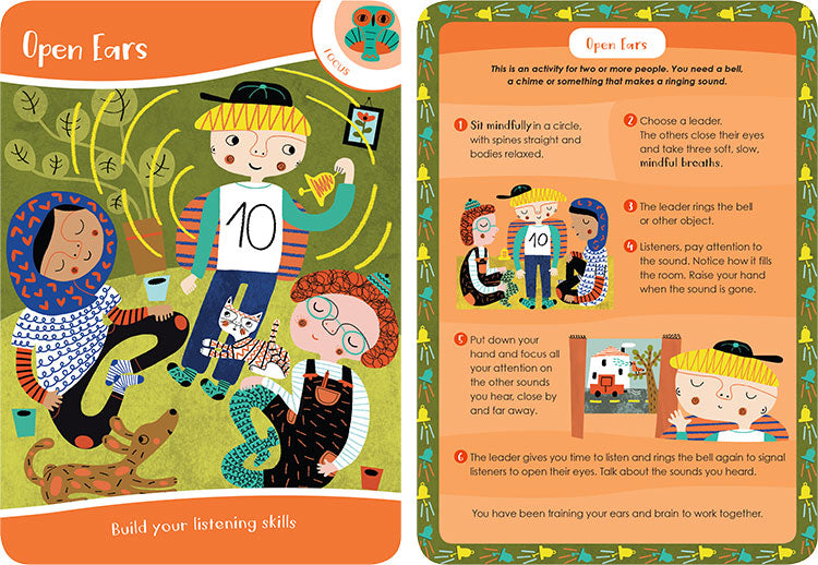 Two illustrated orange cards of the front and back of the open ears mindfulness exercise. The first card introduces the activity, the back shows steps 1 through 6 on how to achieve the activity