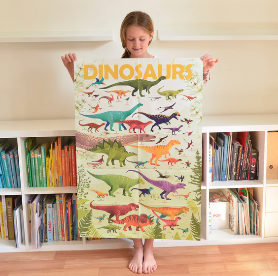Poppik Giant Poster with 32 Stickers Dinosaurs