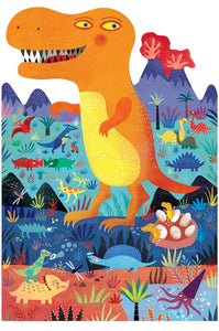 Colourful die-cut puzzle on a white background features an illustrated orange dinosaur in his natural habitat surrounded by other dinosaurs and volcanoes.