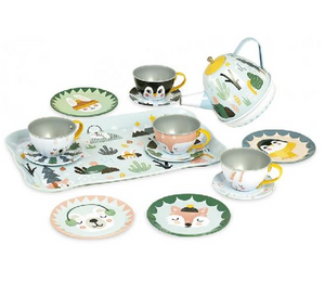 Snowy Woodland Musical Tin Tea Set