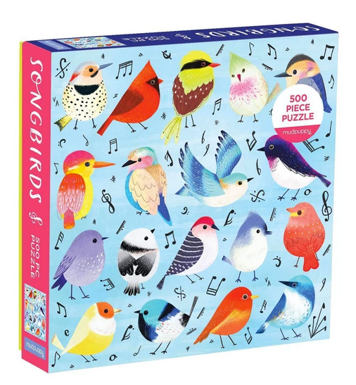 A light blue puzzle box with music notes and colourful birds on a white background.