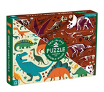 A puzzle box with dinosaurs on half and dinosaur bones on the other half on a white background.