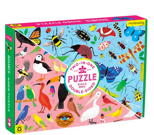 A puzzle box with birds on one side and bugs on the other side on a white background.