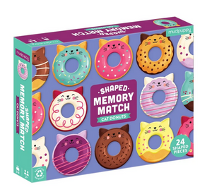 A game box with colourful donuts with cat ears and cat faces on a white background.