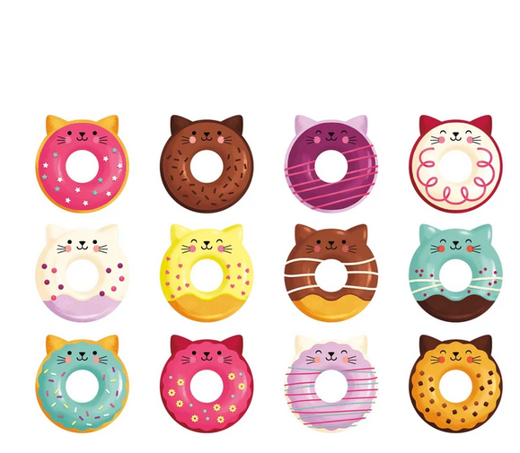 Some of the cat-donut playing pieces on a whitebackground.