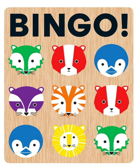 A bingo board with nine colourful animal heads on it in lines of three on a white background.