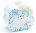 The same blue music box with blue and yellow stars on it on a white background. The top is closed, showing a design of two unicorns sitting on a cloud with a rainbow beside them.