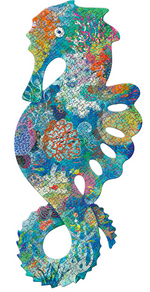 A green and blue seahorse puzzle covered in coral and other underwater plants on a white background.