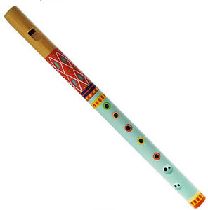 A wodden flute painted red and blue on a white background.