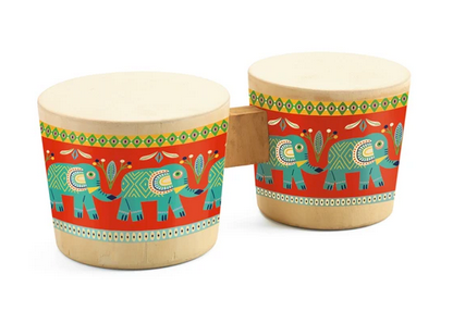 A pair of bongos on a white background with a red band around each bongo and blue geometric elephants