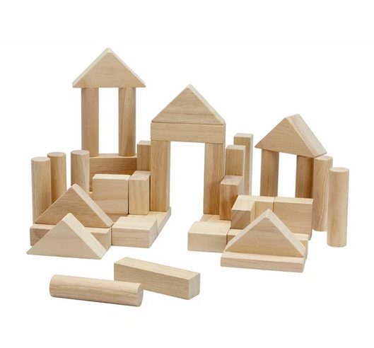 natural wood blocks set on a white background
