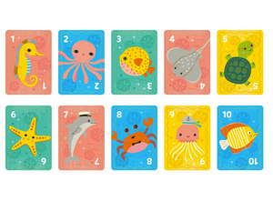 two rows of cards laid out on a white background in pastel coulrs with sea animal illustrations on them.