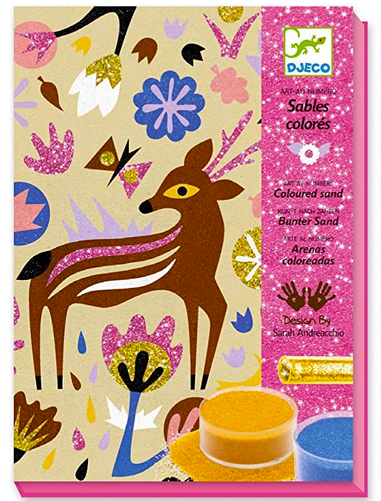 A sparkily and colourful box with designs of a deer, flowers and butterflies.