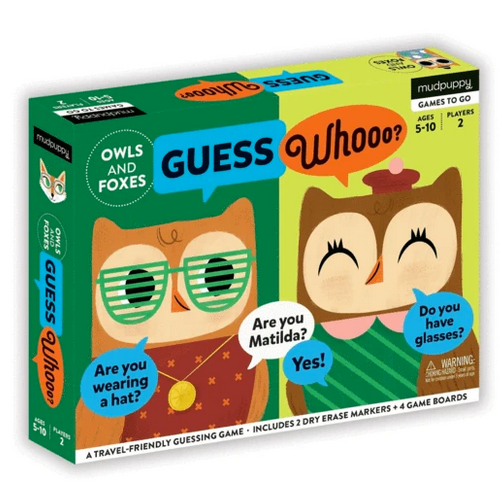 A box with two owls on it dressed up in different outfits on a white background.