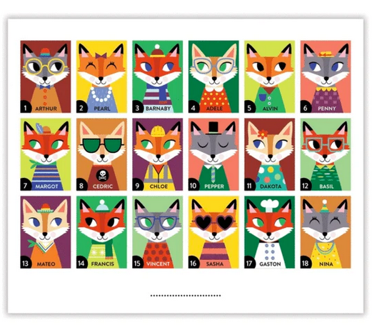 Pictures of the fox cards on a white background.