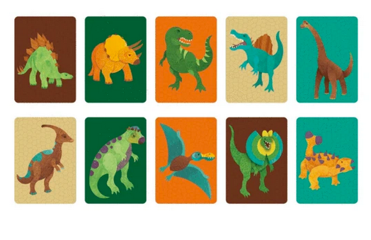 Some of the cards with dinosaurs on it on a white background.