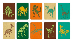 Some cards with dinosaur bones on them on a white background.