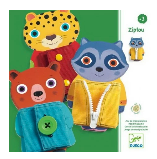 A box with three animals on it each wearing outfits on a white background.