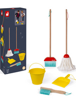 A long black box next to a broom, a mop, a bucket, a handbroom, and a dustpan on a white background.
