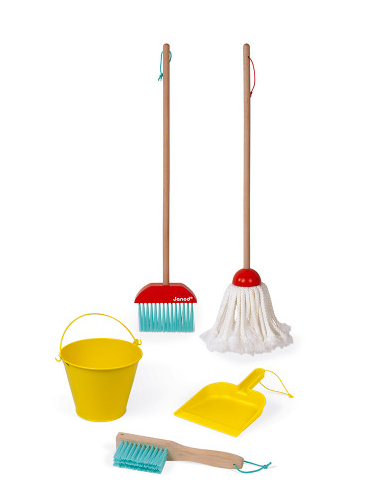 A broom, a mop, a bucket, a handbroom and a dustpan on a white background.
