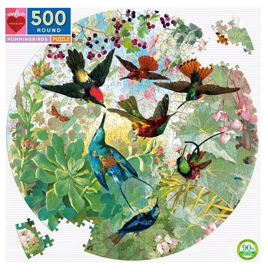 Hummingbirds Round 500 pc Puzzle