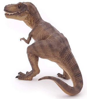 a realistic brown tyrannosaurus rex dinosaur figurine with a closed mouth on a white background