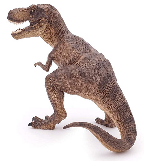 a realistic brown tyrannosaurus rex dinosaur figurine with an open mouth showing sharp teeth on a white background