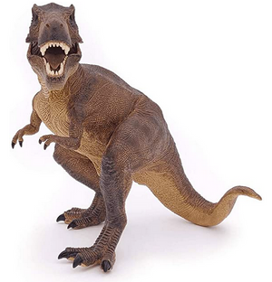 realistic brown tyrannosaurus rex dinosaur figurine with an open mouth showing sharp teeth facing outward on a white background