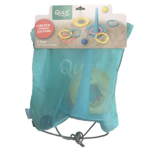 on a white background, a mesh bag with a cardboard header at the top with pictures of beach toys on it.