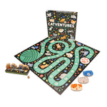 a green and black board game with game pieces at the side and the box in the background on a white background