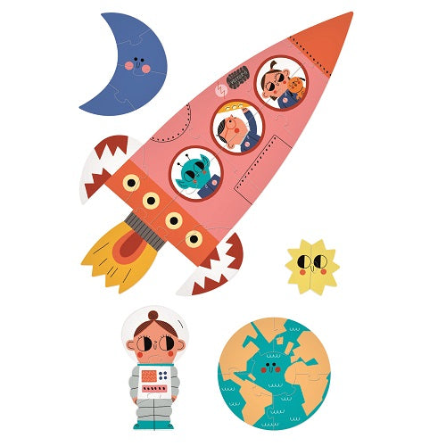 five illustrated puzzles on a white background, a moon, a sun, an earth, a rocket an a girl astronaut
