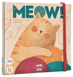 on a white background with an illustrated cat with some yarn balls. The word meow across the top.