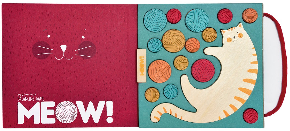 the inside of the game box , one side is red with the word meow at the bottom, the other holds all the game pieces in place.
