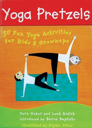 An illustated picture with a red banner at the top with white words. Underneath an orange backgrouns with two illustrated people doing a yoga pose
