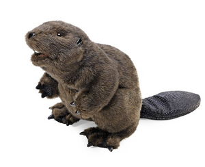 plush brown beaver facing the side on a white background.
