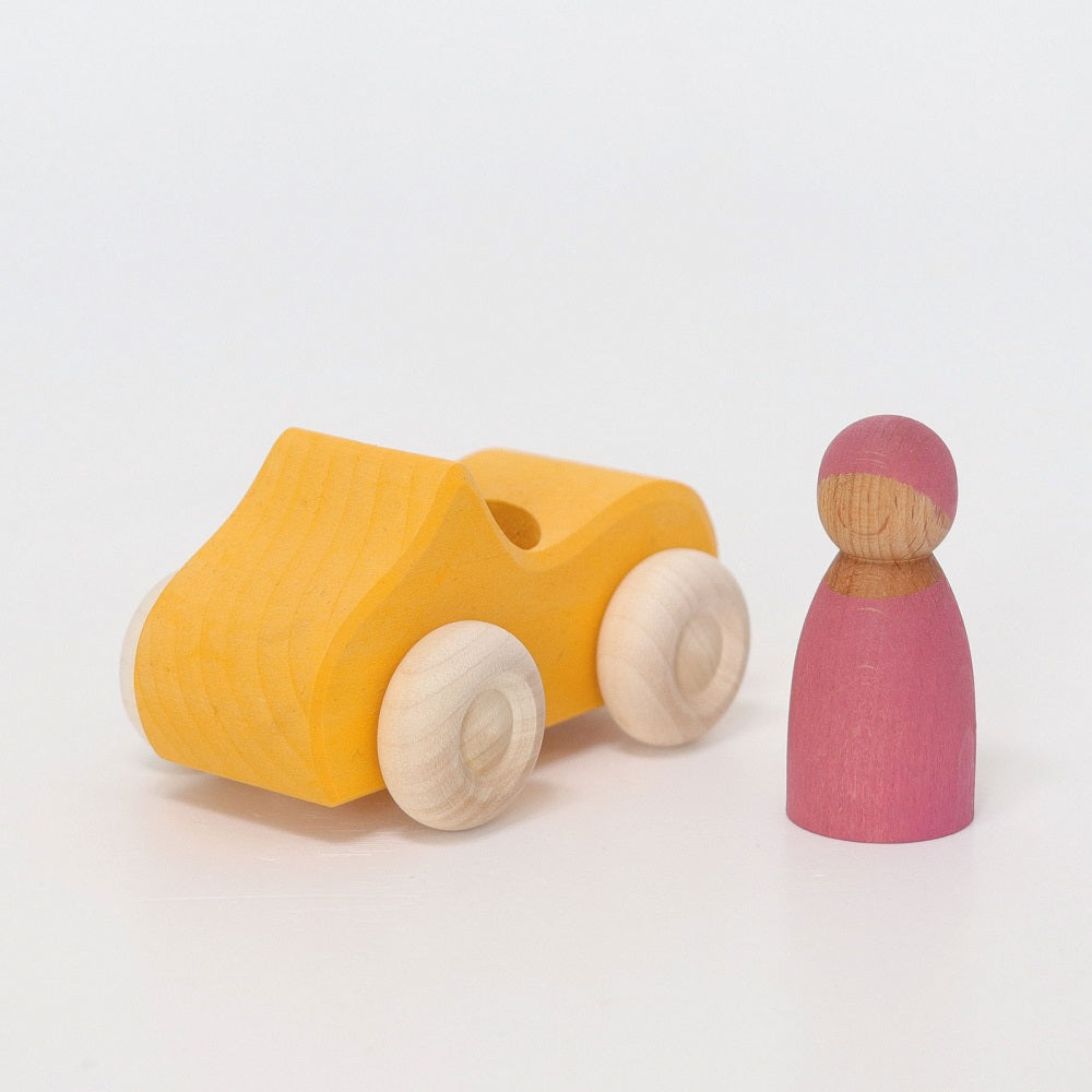 Small Yellow Convertible with Peg Doll