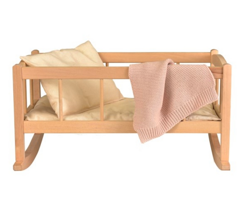 Wooden Cradle with Knitted Blanket