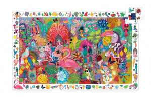 On a white background, a colourful, illustrated rio scene on an assembled puzzle with one piece missing at the corner