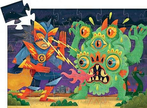On a white background, an illustrated puzzle with a corner not quite in place. Features a colourful scene of a robot and a monster