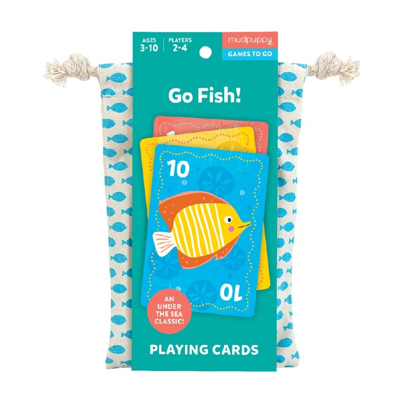 a card game on a white background in a cotton drawstring bag with a turquoise paper wrapper around it with illustrated cards and underwater animalspaper
