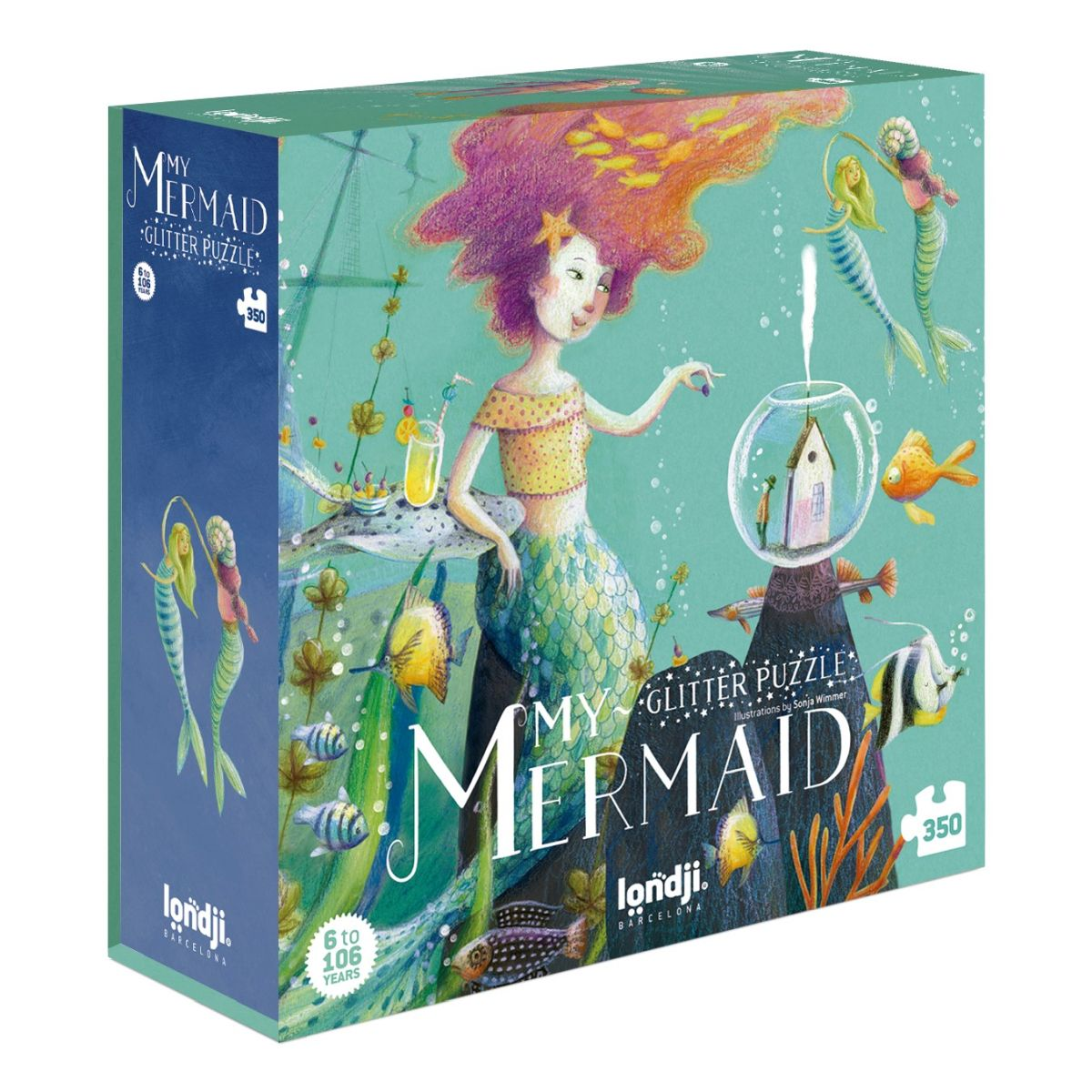 A blue puzzle box with a mermaid on it and other sea-creatures and mermaids on a white background.