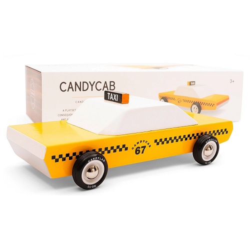 on a white background, a wooden yellow checkered cab with its box behind it