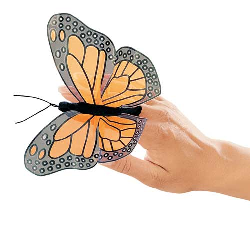On a white background, a sheer, monarch butterfly finger puppet on a person's hand