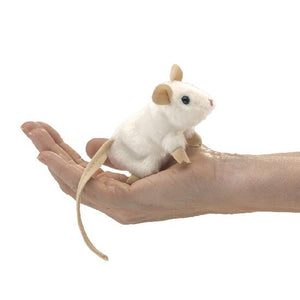 on a white background, a small white plush mouse with a long tail in the palm of a hand