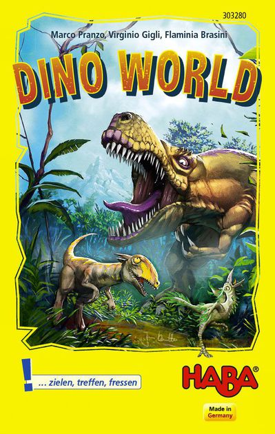 A yellow box with a picture of three dinosaurs chasing eachother