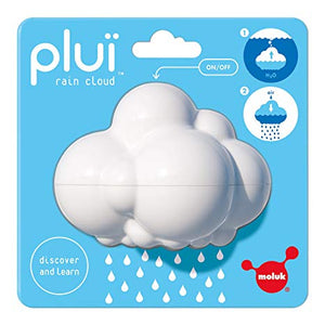 A white plastic cloud-shaped toy in a blue blister package on a white background.